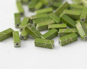 Acrylic Gold Drizzle Green Rectangle Tube Beads 13mm (30)