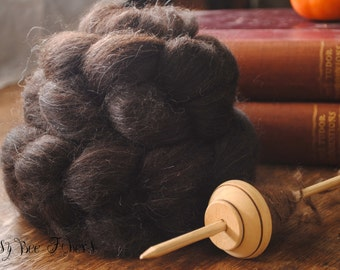Undyed Natural Black Finn Combed Top Wool Roving Spinning Felting fiber - 4 oz