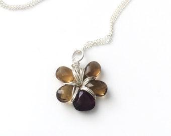 Whiskey Quartz Garnet Flower Necklace Sterling Silver Ready To Ship