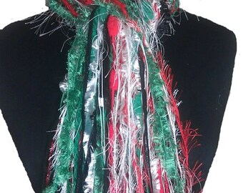 Fringe Scarf Knotted Scarves - Christmas Scarf IV - Red, White, Green and Black