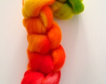Merino wool Roving handpainted gradient from orange to yellow to lime green