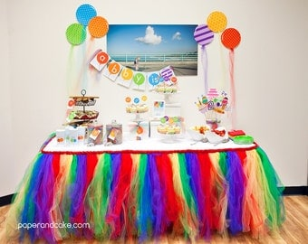 Balloon Rainbow Birthday PRINTABLE Party Collection - You Customize EDITABLE TEXT >> Instant Download <<