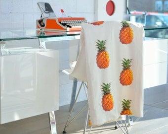 Throw Blanket- ORGANIC Pineapple Throw, Cozy Knit Throw, Modern Blanket, Home Office