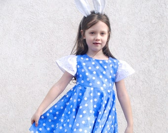 Girls Dress- Easter Dress- Spring Dress in Blue and White Polka Dots with Eyelet Lace- Twirl Dress (Sizes 2t 3t 4t 5t 6t)