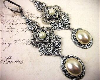 Renaissance Earrings, Cream Pearl, Ivory, Medieval Jewelry, Tudor Costume, Borgias, Marie Antoinette, Ren Faire Wedding, Bridal, Avalon