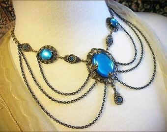 Victorian Necklace, Aquamarine, Aqua, Blue, Renaissance Wedding, Medieval Bride, Handfasting, Tudor, Garb, Ren Faire, Drucilla
