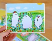 Spring Revelry - Cat Card - Spring Card - Garden Cats - Flowers - Nature Lovers