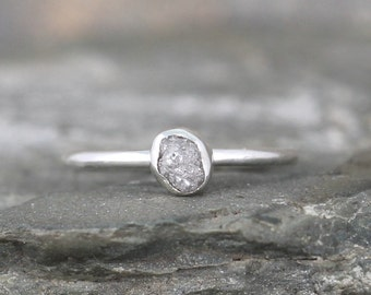 Raw Diamond Stacking Ring - Sterling Silver Bezel Set - Uncut Rough Diamond - Promise Ring - April Birthstone Rings - Engagement Ring
