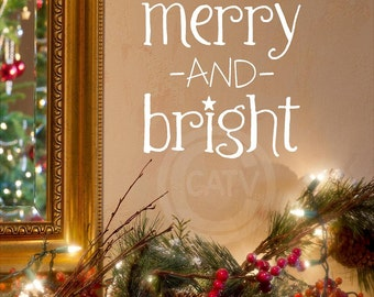Merry and Bright with Star Christmas Vinyl lettering wall decal home decor sticker quote