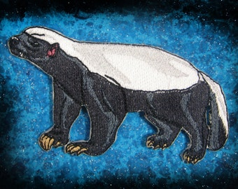 Honey Badger Mellivora capensis Iron on Patch ready to ship