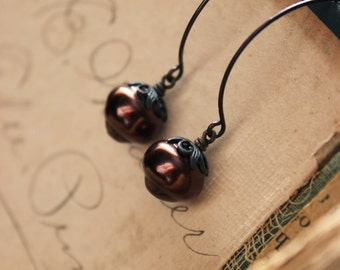 Truffles. Vintage Bronze Glass Bead and Antiqued Brass Earrings.