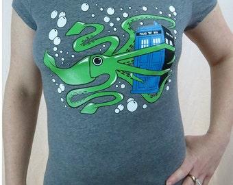CLEARANCE SALE - Squid and TARDIS Womens Tshirt
