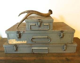 Vintage industrial metal Stacking storage chest boxes ~Set of 3~ Repurposed slide containers~ Man Cave ~For him
