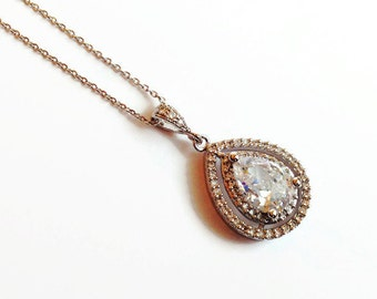 Wedding Necklace - Teardrop Pendant Bridal Necklace - Diamond and Silver Drop Necklace