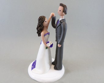 Bride & Groom ''high fiving'' Custom Handmade Wedding Cake Topper