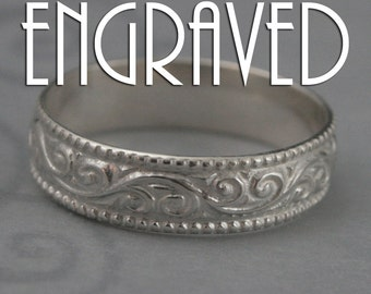 Flourish Wide Wedding Band--Solid Sterling Silver Swirl Patterned Ring with Milgrain Edge--Custom made in YOUR size