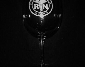 Registered Nurse 11 Ounce Engraved Wine Glass