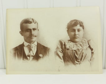 Victorian Husband and Wife Photograph, Late 1800's Man & Woman Sepia Found Photo