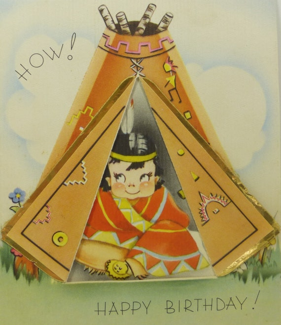 Antique Birthday Card Tepee Indian Boy How Happy By