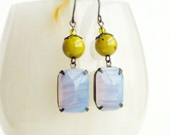 Purple Opal Earrings Large Vintage Lilac Glass Rhinestones Purple Olive Green Pastel Jewelry Opal Dangle Earrings