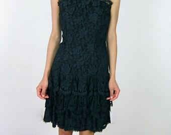 Black Lace 80's Party Dress