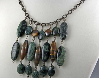 Green and Brown bib necklace, mixed gemstone bead dangles on brass chain, statement jewelry