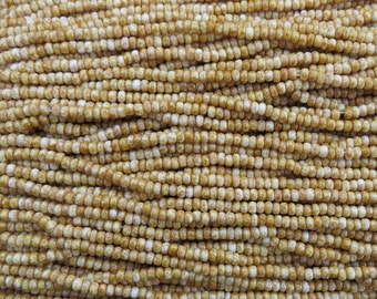 8/0 Opaque Ivory Picasso Czech Glass Seed Bead Strand (CW8)