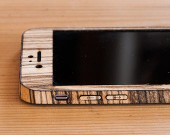 Zebrawood iPhone 7 Wrap - Wood iPhone 7 Case - Classic Style - Available in Bamboo, Walnut, Mahogany, Teak, Maple & more!