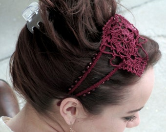 Beaded Headband with Lace Accents.