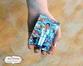 First Communion Gift for Boy, Our Father Prayer Card, wallet-sized waterproof aluminum, blue