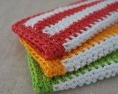 Dish Cloths, Cotton Crocheted. Red, Yellow, Green