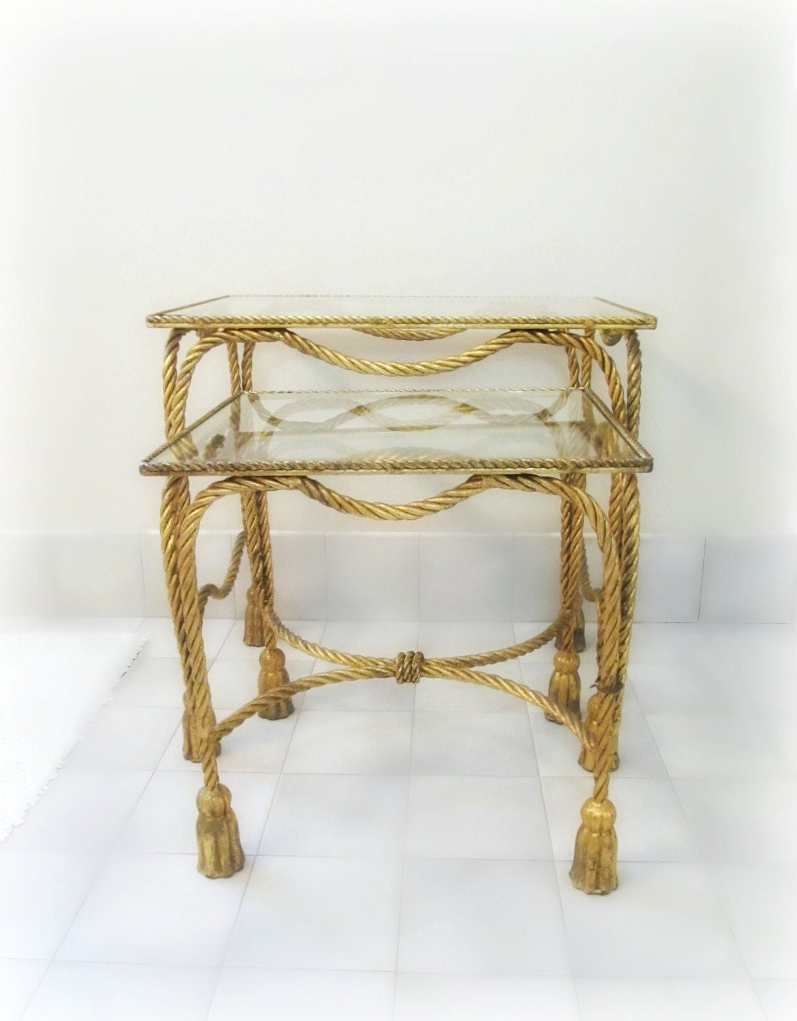 Italian Gold Gilt Nesting Tables Rope & Tassel Glass By IonesAttic. Full resolution  photo, nominally Width 1155 Height 1481 pixels, photo with #47371C.