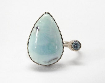 Daughter from Mom, Blue Stone Ring, Silver Larimar, Artisan Ring, Open Ring, Wife From Husband, Girlfriend Gift, Adjustable Ring
