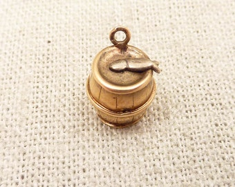 "Antique 14k Gold ""Another Fish In The Barrel"" Charm"