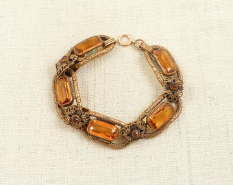 RESERVED for Kathy ============ Antique Victorian Brass and Citrine Glass Link Bracelet