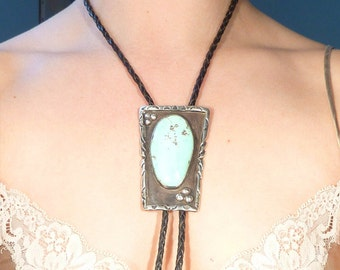 SALE --- Native American Vintage Artist Signed Huge Sterling and Turquoise Leather Lariat