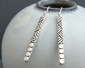 """long silver bar earrings. simple tribal design. black and silver. oxidized sterling drop. line jewelry. large stick dangle. gift. 1 1/4"""" bar"""