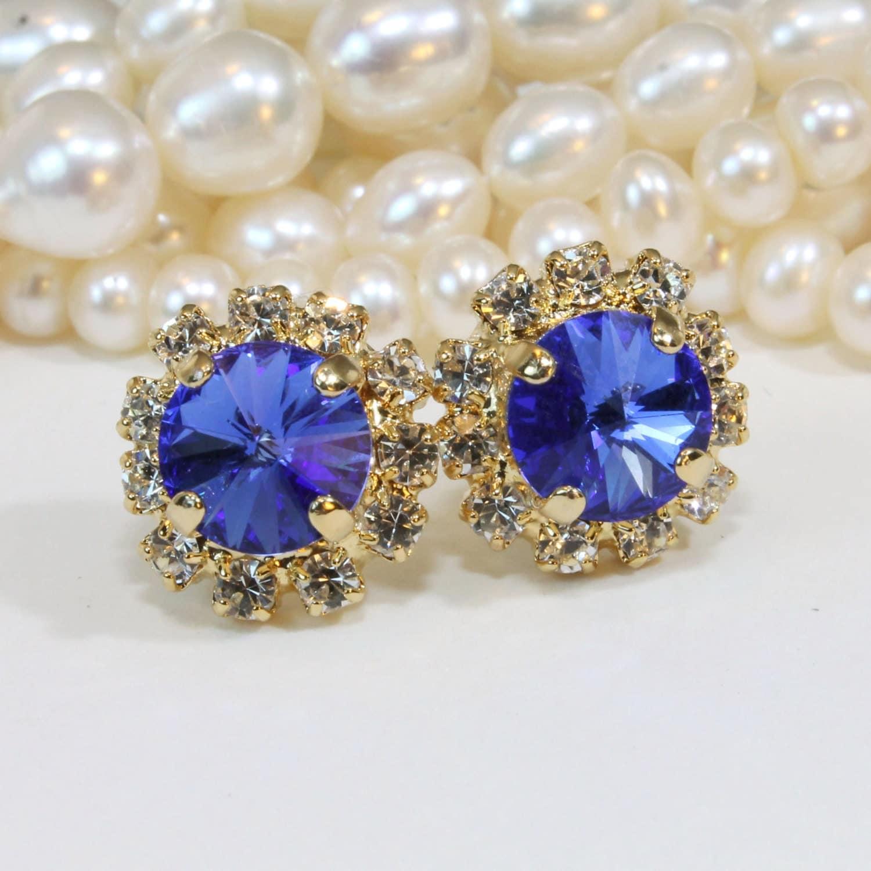 sapphire blue stud earrings swarovski blue crystal stud. Black Bedroom Furniture Sets. Home Design Ideas