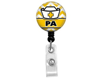 PA Badge Reel - Physican Assistant - Yellow Chevron - Retractable Badge Reel Mylar on Alligator or Belt clip