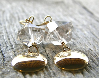 Herkimer Diamond Gold Disc Earrings, Simple Quartz Earrings, Gifts for Her