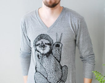 Peace Out Sloth, 5% Donated to Wildlife, unisex sloth tshirt, v-neck shirt, long sleeve v-neck, fun gifts for him, sloth gifts Simka Sol