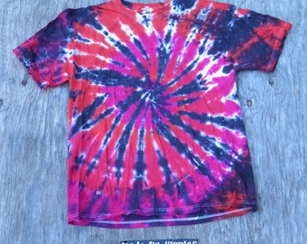 Red & Fuchsia on Black Spiral Tie Dye T-Shirt (Jerzees Size XL) (One of a Kind)