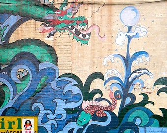 Chinatown Urban Art Photography, Philadelphia Mural Art, Chinese Dragon Print, Graffiti Art, Turquoise Wall Decor, Blue Urban Home Decor