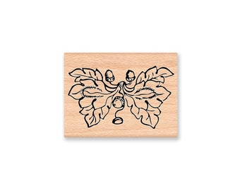 Acorns and Oak Leaves-Fall Foliage-Thanksgiving decoration-Wood Mounted Rubber Stamp (mcrs 31-30)