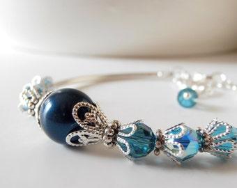 Teal Bridesmaid Bracelet, Swarovski Pearl Bracelet, Beaded Wedding Jewelry, Bridesmaid Set, Gift for Bridesmaid, Peacock, Petrol