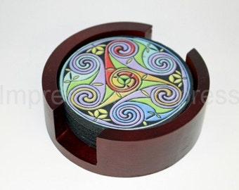 Celtic Triskel Coaster Set of 5 with Wood Holder