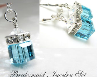 Light Teal Bridesmaid Jewelry, Wedding Sets, Bridal Jewelry, Teal Bridal Necklaces, Teal Earrings, Swarovski Crystal Sets, Sterling Silver