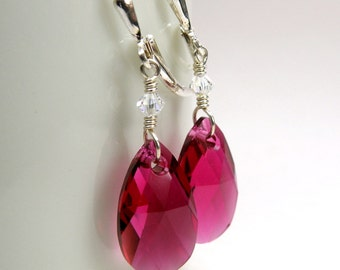 Ruby Crystal Earrings, Sterling Silver, Magenta Teardrop, Berry Wedding, Bridesmaid Handmade Jewelry, July Birthstone Birthday Holiday Gift