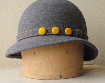 """Heathered Grey Wool Felt Hat With Goldenrod Yellow Felt Buttons - Size 22"""" - Ready To Ship"""