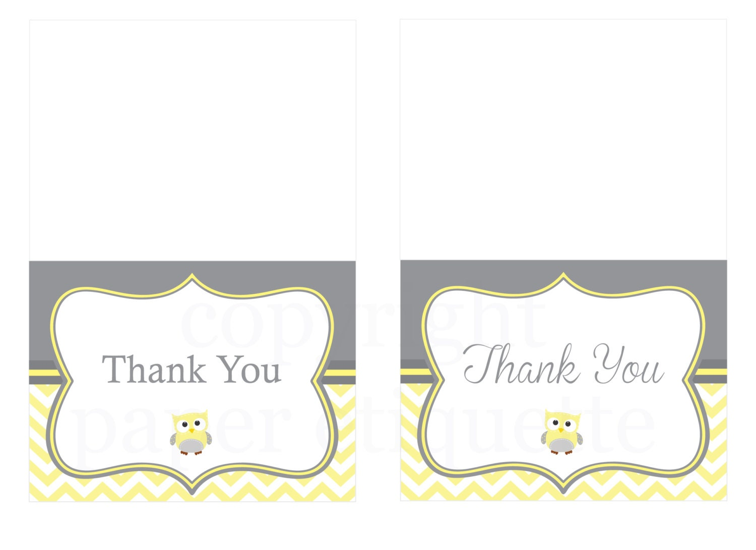 Yellow Owl Chevron Thank You Cards Print Your Own
